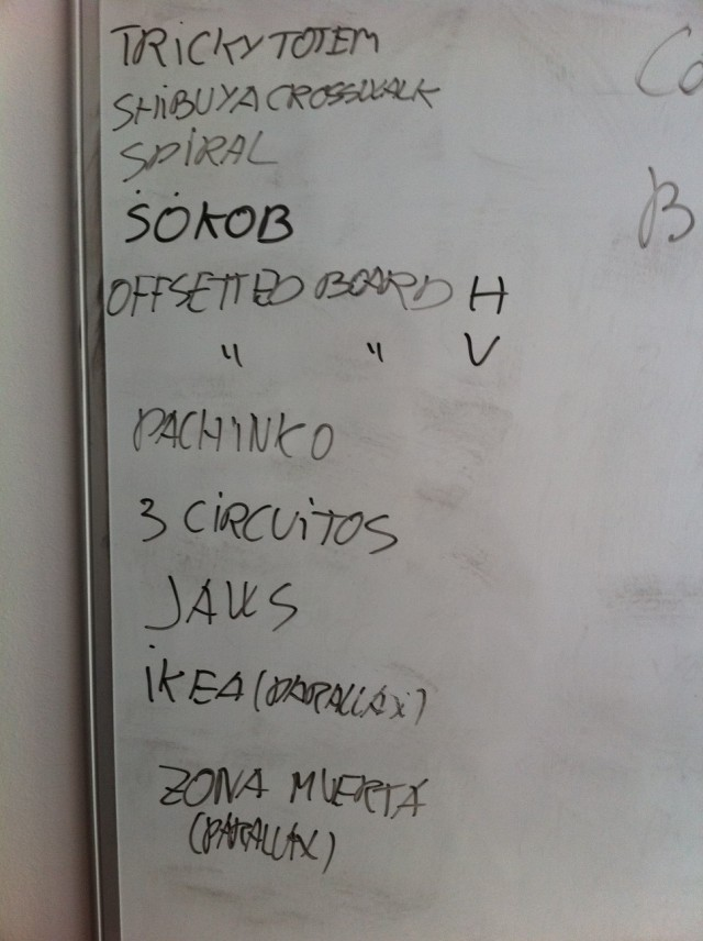 List of some puzzle ideas written down on my whiteboard